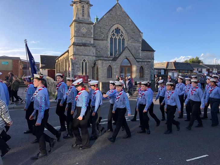 Scouts mach past church 2.jpg