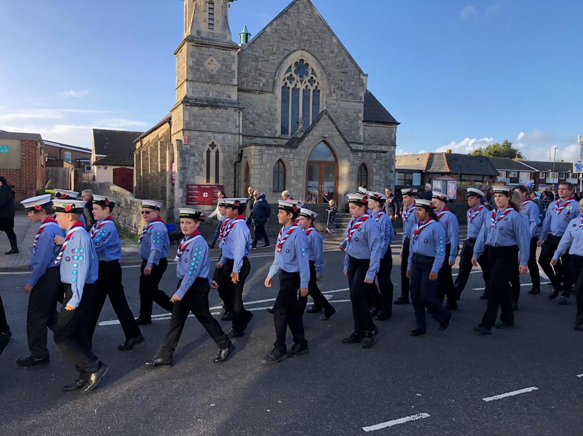 Scouts March past church.jpg