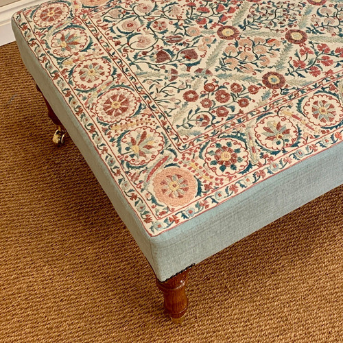 A detail of a suzani-based stool