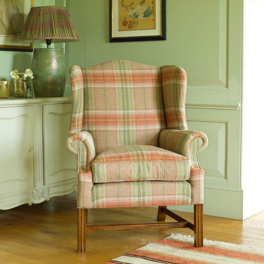 Otter chair with reeded legs and stretcher