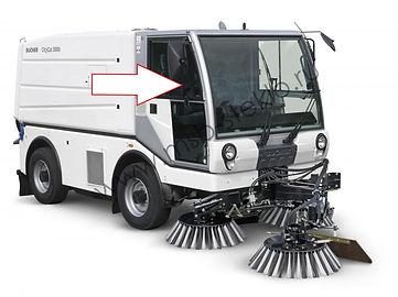 Стекло дверное правое переднее коммунальная машина пылесос Bucher CityCat 5000