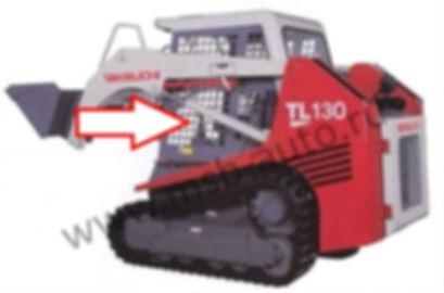Стекло кузовное левое в рамке неподвижное (нижнее)  мини погрузчик Takeuchi TL130 TL140 TL150, такеучи стекло