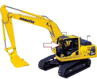 Стекло лобовое верхнее экскаватор гусеничный Komatsu PC 200-8, Komatsu PC 220-8, Komatsu PC 300-8, Komatsu PC 400-8, Komatsu PC 750-8, Komatsu PC 800-8, 20Y-53-11520