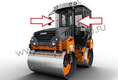 Стекло лобовое правое и левое на каток HammHD-13 VT