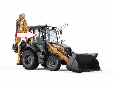 Стекло дверное верхнее правое с вырезом снизу экскаватор-погрузчик CASE 580 ST .