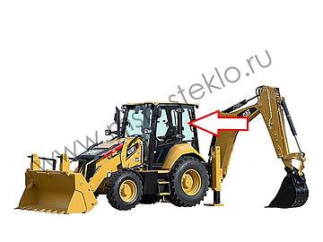 Стекло кузовное заднее левое верхнее экскаватор-погрузчик Caterpillar 428f2, 432f2, 434f2, 444f2