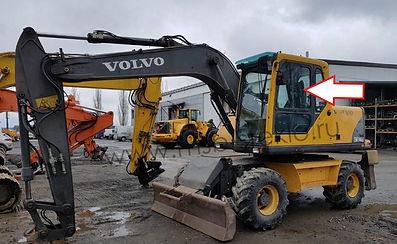 Стекло дверное верхнее заднее левое экскаватор Volvo EW 140 b, 145 b, 160 b, 180 b, EC 180 Blc, 210 Blc, 240 Blc, 290 Blc, 460 Blc, 2003 .