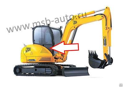 Стекло кузовное правое нижнее заднее мини-экскаватор Jcb 8035 zts, Jcb 8065 zts