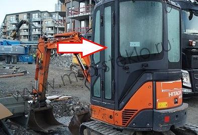 Стекло дверное заднее экскаватор Hitachi ZX22U 27U 30U 40U 50U