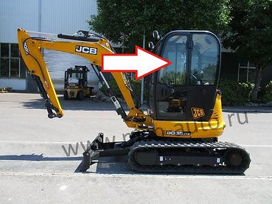 Стекло дверное левое верхнее мини-экскаватор Jcb 8035 zts, Jcb 8065 zts