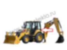 Стекло кузовное заднее левое нижнее экскаватор-погрузчик Caterpillar 428f2, 432f2, 434f2, 444f2