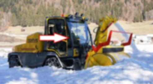 Стекло переднее правое для снегометателя BOSCHUNG B4