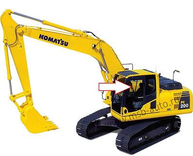 Стекло дверное левое верхнее переднее экскаватор гусеничный Komatsu PC 200-8, Komatsu PC 220-8, Komatsu PC 300-8, Komatsu PC 400-8, Komatsu PC 750-8, Komatsu PC 800-8, 20Y-53-12850