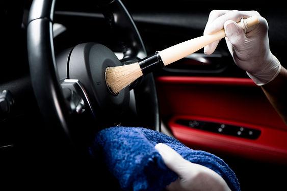 Car detailing series, Man use brush clea