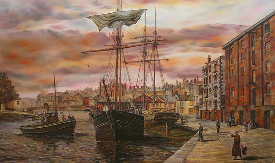 EVENING ON THE QUAY, EXETER (on canvas)