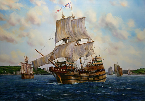 THE SAILS FILL AS THE MAYFLOWER LEAVES PLYMOUTH, 1620