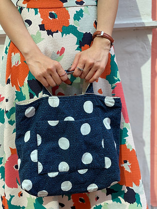 #24270 navy dotted canvas bag