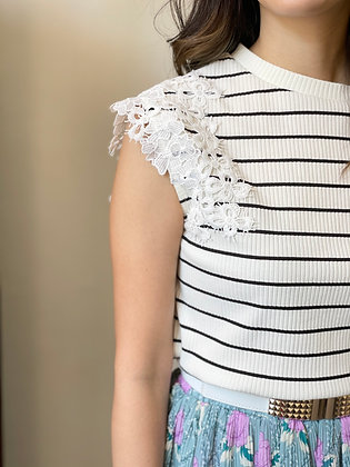 #24826rope picnic wh/blk stripe top