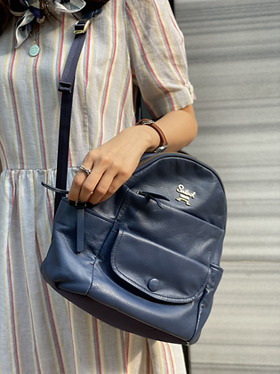 #23534 salad navy leather backpack