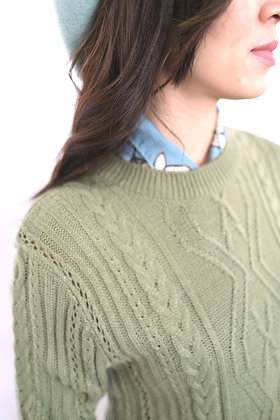olive knit top #41123