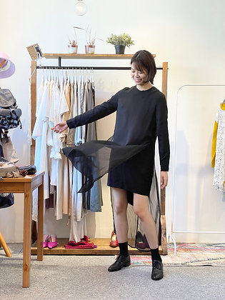 #25303 initial black chiffion top