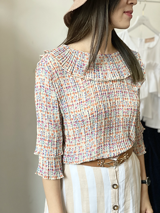 #25241 beige floral pleated top