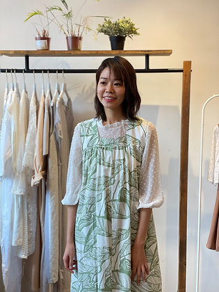 #25654 white green leaves one piece