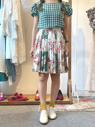 #42490 wh/gn/pk floral skirt