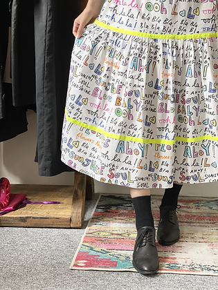 #25062 wh calligraphy skirt