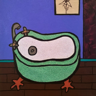 Mint Tub with Periwinkle Wall