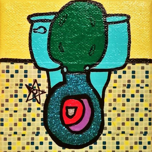 Little Green Glitter Toilet with Tile