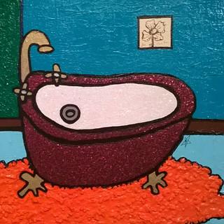 Red Velvet Glitter Tub Orange Rug