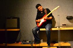 Musician, Jayanta Dasgupta during a gig