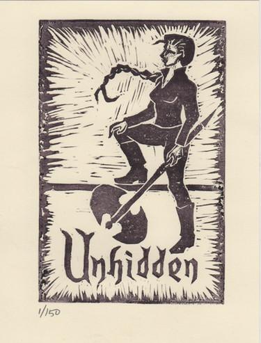 Unhidden illustrated urban fantasy promotional block print