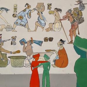 Bertrand L. - Devant le mur Maya - 46x55 cm