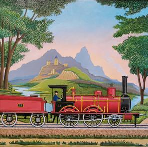 L. Vieillard - (France) - Locomotive cramoisie - 55x38 cm