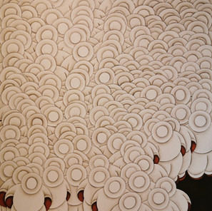 J. Saboia - (Brésil) - Multidao branco N°2 - 80x60 cm