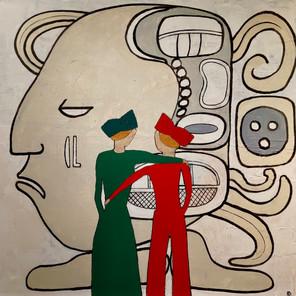Bertrand L. - A l'école des Mayas - 60x60 cm