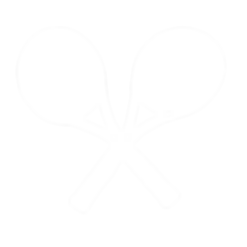A line drawing of two tennis rackets crossed over each other