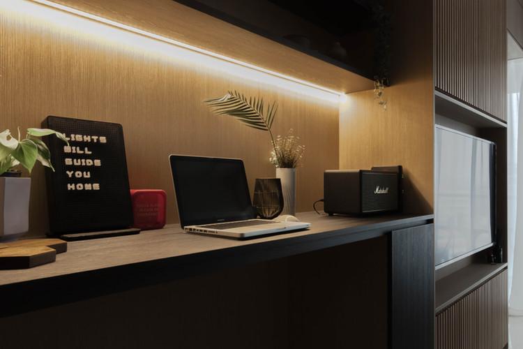 Hock Hoon, Interior Design Singapore, Minimalist Interior Design, Botanique at Bartley, Carpentry, Castlery, Sol Luminaire, TV Console, Sofa, Dining Table, Inz Residence, Monochrome design, wood, fins, slats