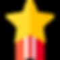 """Ícone representativo de uma estrela com listas na parte inferior vermelhas e que dá acesso à página """"Prémios"""", onde pode conhecer os prémios ganhos pela empresa Irmãos Lopes & Cardoso, Lda."""