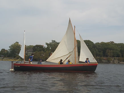 Trainees on one of our whalers. Summer camp.