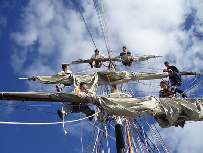 Trainee's hanging out aloft. summer camp.