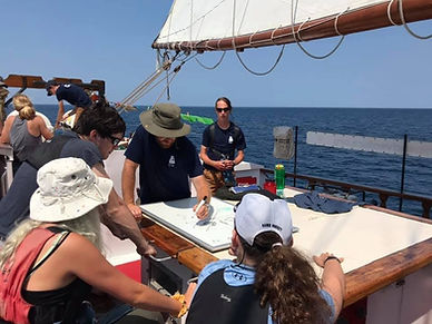 Crew member leading a lesson on deck. Summer camp.