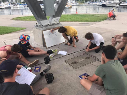 Lesson taking place at the marina. Summer camp.