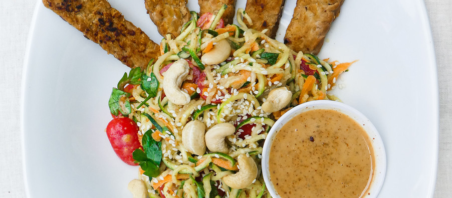 ZUCCHINI PASTA WITH MISO GINGER DRESSING