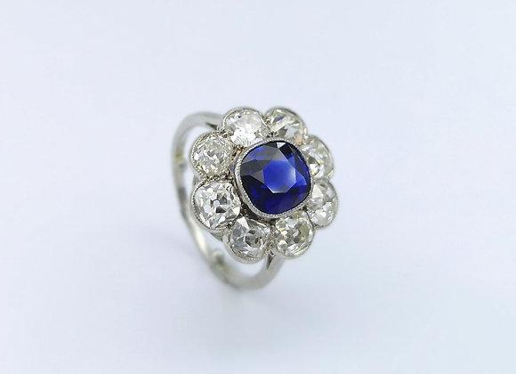 18ct Cushion Sapphire & Diamond Cluster Ring