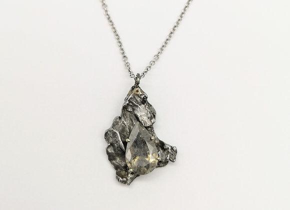 Gold & Diamond Meteorite Pendant