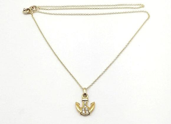 Diamond Set Anchor Pendant