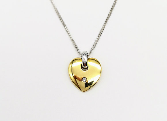 18ct Solid Heart Diamond Set Pendant